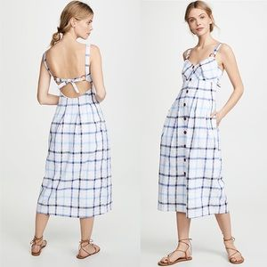 RED CARTER Linen Plaid Gingham Dress Swim Cover XS